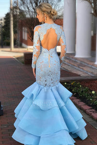 Blue Long Sleeves Backless Lace Prom Dresses,Mermaid Evening Dresses - EVERISA