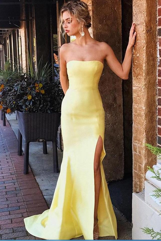 100% authentic various styles lace up in Yellow Strapless Side Slit Sleeveless Mermaid Satin Prom Dresses