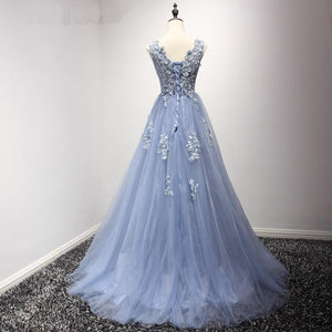 Blue Scoop Neck Lace Appliques Prom Dresses,A Line Evening Dresses