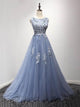Blue Scoop Neck Lace Appliques Prom Dresses,A Line Evening Dresses - EVERISA