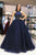 Navy Blue Sleeveless Backless Tulle Prom Dresses,Beaded Evening Dresses