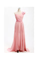 Fashion Peach One Shoulder Empire Chiffon Bridesmaid Dress Prom Dress With Flowers - EVERISA