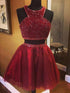 Two Pieces Burgundy Beaded Homecoming Dresses,A Line Cocktail Dresses
