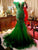 Green Off Shoulder Lace Beaded Prom Dresses,Mermaid Evening Dresses - EVERISA