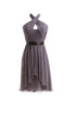 Charming Gray Halter High Low Chiffon Bridesmaid Dress Cheap Prom Dresses