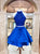 Royal Blue Sleeveless Halter Homecoming Dresses,Beaded Cocktail Dresses