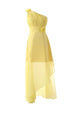 Elegant Bright Yellow One Shoulder A-line Chiffon Bridesmaid Dress Long Prom Dresses With Flowers - EVERISA