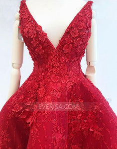 Burgundy V Neck High Low Prom Dresses,Lace Appliques Evening Dresses