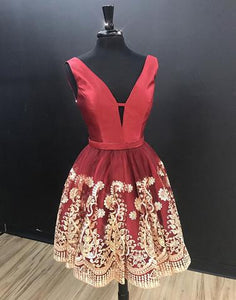 Burgundy V Neck Sleeveless Homecoming Dresses,Lace Cocktail Dresses