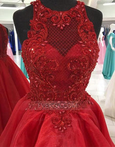Burgundy Sleeveless High Low Prom Dresses,Lace Graduation Dresses - EVERISA