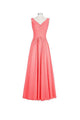 Simple Dark Peach V-Neck Sleeveless Chiffon Bridesmaid Dresses Long Evening Dress - EVERISA