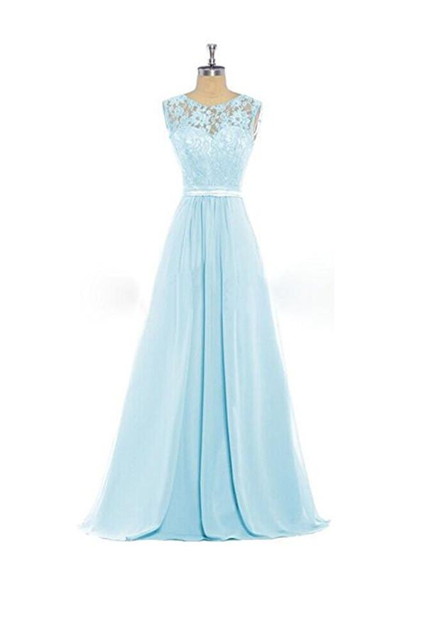 dc53ff58b4d Elegant Pale Blue Scoop Neck Empire Waist Chiffon Evening Dress Prom Dress  With Lace - EVERISA