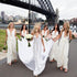 Ivory V Neck Sleeveless Backless Long Chiffon Bridesmaid Dresses