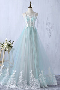 A Line Lace Appliques Prom Dresses,Sleeveless Graduation Dresses - EVERISA