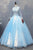 Blue High Neck Lace Applique Prom Dresses,Long Sleeves Evening Dresses - EVERISA