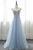 Blue V Neck Cap Sleeves Beaded Prom Dresses,Tulle Graduation Dresses - EVERISA