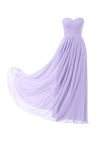 Elegant Lilac Sweetheart Empire Waist Chiffon Prom Dress Affordable Bridesmaid Dress - EVERISA