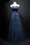 Navy Blue Sleeveless V Neck Beaded Prom Dresses With Lace Appliques