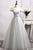 Grey Off Shoulder Strapless Prom Dresses,A Line Tulle Graduation Dress - EVERISA