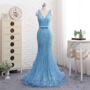 Blue V Neck Sleeveless Mermaid Sequins Prom Dresses With Appliques