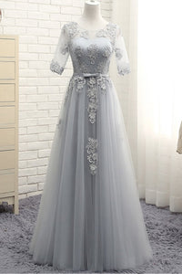 Short Sleeves Backless Prom Dresses,Lace Appliques Graduation Dresses