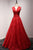 Burgundy V Neck Sleeveless Lace Prom Dresses,Backless Graduation Dress
