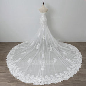 Sleeveless Sweetheart Lace Wedding Dresses,Mermaid Bridal Gown