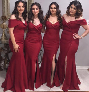 Burgundy Off Shoulder Side Slit Mermaid Satin Bridesmaid Dresses