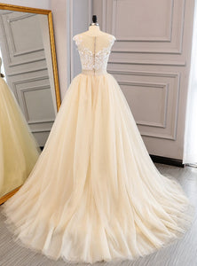 Champagne Lace Applique Prom Dresses,Sleeveless Tulle Evening Dresses