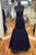 Navy Blue Sleeveless V Neck Mermaid Prom Dresses,Lace Formal Dresses