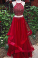 Burgundy Two Pieces Sleeveless Prom Dresses,Beaded Graduation Dresses