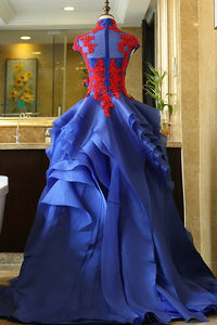 Royal Blue Cap Sleeves Lace Beaded Prom Dresses,High Neck Formal Dress