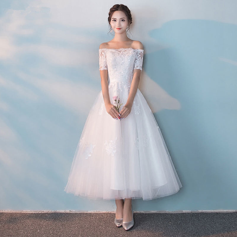 a4eb8217d8 White Off Shoulder Short Sleeves Prom Dresses