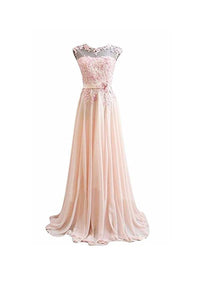 Elegant Pink Scoop Neck Backless Chiffon Prom Dress Long Evening Dress With Lace - EVERISA