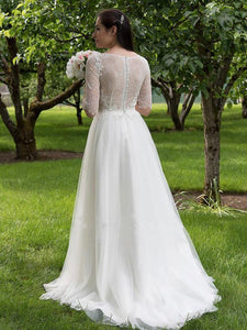 Scoop Neck Half Sleeves A Line Tulle Wedding Dresses,Lace Bridal Gown