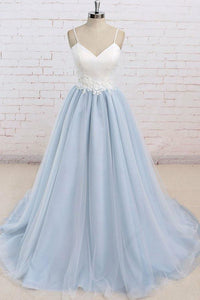 Fashion Pale Blue V-Neck Backless Tulle Evening Dress Cheap Prom Dresses - EVERISA