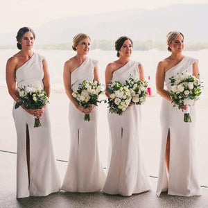 One Shoulder Sleeveless Side Slit Long Satin Bridesmaid Dresses