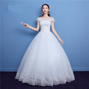 Cap Sleeves Lace Appliques Wedding Dresses,A Line Tulle Bridal Dresses - EVERISA