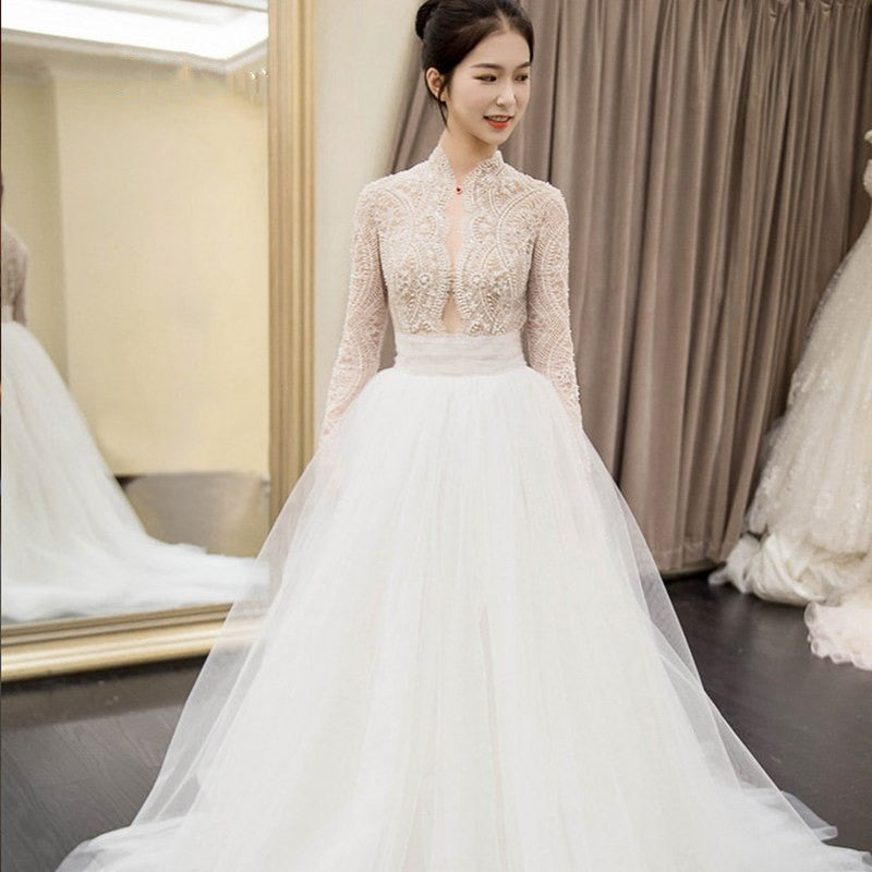 Long Sleeves Lace Beaded Wedding Dresseslong Tulle Bridal Dresses
