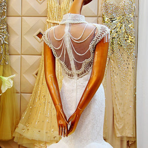 High Neck Sleeveless Mermaid Wedding Dresses,Lace Beaded Bridal Dresses