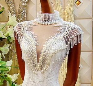 High Neck Sleeveless Mermaid Wedding Dresses,Lace Beaded Bridal Dresses - EVERISA