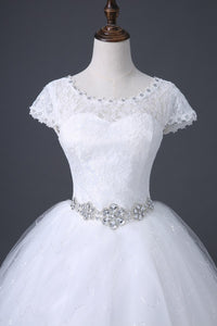 Scoop Neck Cap Sleeves A Line Tulle Lace Wedding Dresses With Crystals