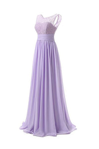 Elegant Lilac Scoop Neck Empire Waist Chiffon Prom Dress Cheap Evening Dress - EVERISA