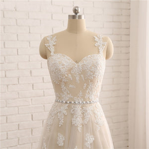Sleeveless Lace Appliques Wedding Dresses,A Line High Low Bridal Dress