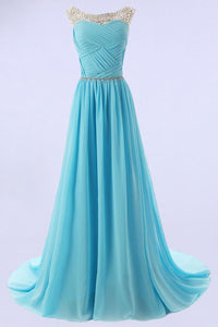 Luxury Ice Blue Scoop Neck Empire Chiffon Evening Dress Cheap Prom Dress With Beading - EVERISA