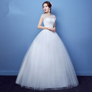 Scoop Neck Short Sleeves Lace Wedding Dresses,Tulle Bridal Dresses