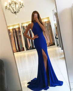 Royal Blue Sleeveless Mermaid Prom Dresses,Side Slit Evening Dresses