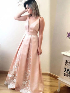 Blush Pink V Neck Sleeveless Satin Prom Dresses With Lace Appliques