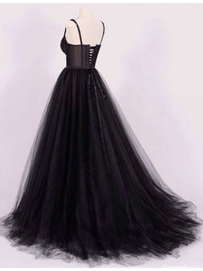 Black Sweetheart Backless A Line Tulle Prom Dresses,Lace Evening Dresses