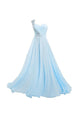 2018 Pale Blue One Shoulder A line Chiffon Prom Dress Long Evening Dresses - EVERISA